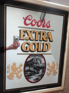 1988 COORS EXTRA GOLD BEER MIRROR WALL SIGN FRAMED PICTURE PUB ADOLPH