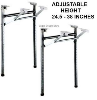 Black Metal Folding Adjustable Table Legs 24 5 to 38 inches Tall Pkg 2