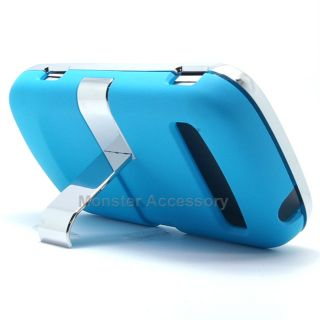 Blue Chrome Kickstand Hard Case Snap On Cover For Samsung Admire R720