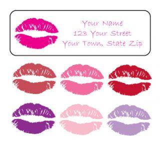 Personalized Lipstick Lips Kiss Address Labels Lips