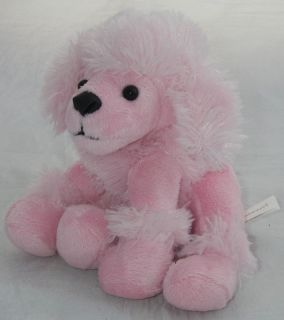Animal Adventure Plush Pink Poodle Dog Beanbag Sits 5 Furry Fuzzy