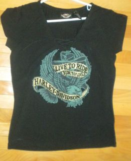 LADIES HARLEY DAVIDSON LACE UP T SHIRT LARGE SEXY LIVE TO RIDE RIDE TO