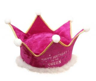 Plush Birthday Crown Pink Queen Adult Novelty Gag Hat