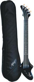 Ashbory Fretless Black Travel Bass Guitar w Gig Bag