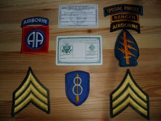CARD 82ND AIRBORNE SPECIAL FORCES RANGER TAB PATCH SERGEANT CHEVRONS