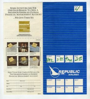 boarding pass 1983 a republic airlines ticket jacket boarding pass in