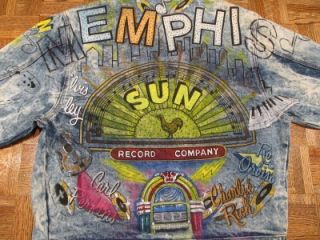 Tony Alamo Memphis Sun Records Denim Jean Jacket Sz Large L Vtg