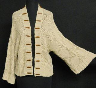 AK Anne Klein Linen Cotton Open Front Cable Knit Cardigan Sweater