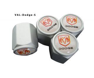 AGT 4pcs Silver Aluminum Valve Caps Stem Tire Cap For Dodge Cars