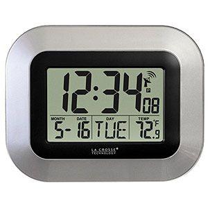 la crosse atomic digital wall clock silver wt 8005u s