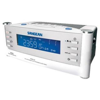 Sangean America RCR 22 Atomic Clock Radio Dual Alarm LCD Display White