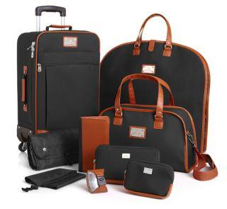 Joy Mangano St Barts Canvas Chic Collection 10 Piece Luggage Set Black