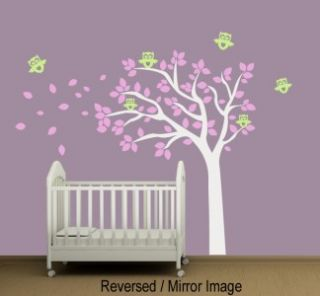 Baby Nursery Wall Decal Tree with Owls   Removable Vinyl Wall Decal