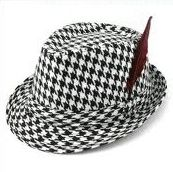 Alabama Houndstooth Fedora Hat Bear Bryant Style Bama Fan Cap with