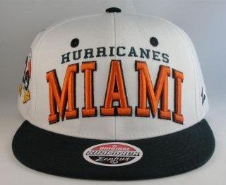 NCAA MIAMI HURRICANES ZEPHYR FLAT BILL SNAPBACK CAP HAT NWT