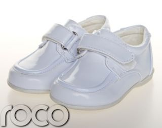 Childrens Baby Boys Whie Shoes Velcro Wedding Page Boy Chrisening