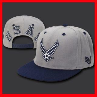 Air Force USAF Flat Bill Snap Back Deluxe Jumbo Back Grey Baseball Cap