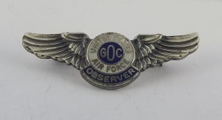Vintage United States Air Force GOC Military Pin Enameled Observer