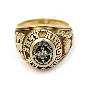 10K Yellow Gold and Diamond U s Army Airborne Ring