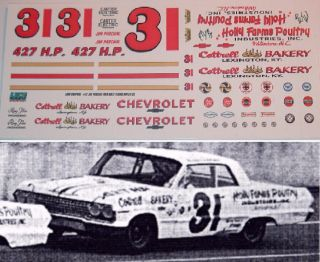 Jim Paschal #31 Holly Farms 1963 Chevy Impala 1/24 scale decals ONLY