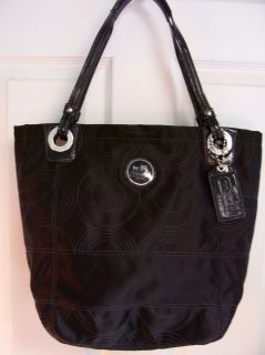 COACH POPPY POP ALEX BLACK OP ART C QUILTED SATEEN SHOULDER TOTE