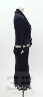 Alexander McQueen Navy White Cotton Cashmere Cable Knit Sailor Dress