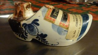 Vintage Delft Ceramic Dutch Clog Shoe Rynbende miniature liquor bottle