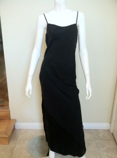 BY ALEXANDER WANG BLACK LONG MAXI SILK SLIP DRESS SIZE SMALL