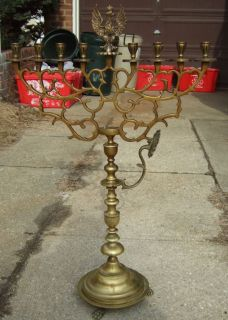 C1880 Large Brass Poland Polish Synagogue Menorah Antique Judaica
