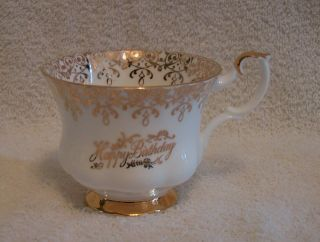 Royal Albert Bone China Happy Birthday Teacup White Gold England