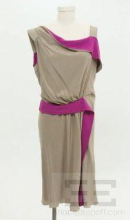 Alberta Ferretti Taupe & Fuschia Silk Crepe de Chine Asymmetric Dress