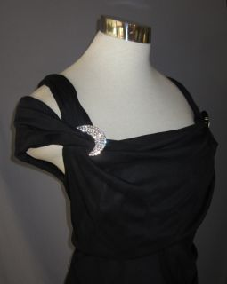 24W Alex Evenings Black Mesh Rhinestoen Cold Shoulder Dress $150