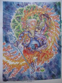 Sacred Geometry Ganesh Fire Dubstep Hindu God Alex Grey Watercolor