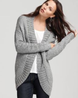 Theory New Albinoni Gray Braided Long Sleeves Open Front Cardigan