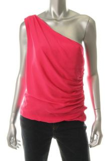 Alice Olivia New Pink Silk One Shoulder Ruched Casual Top Shirt M BHFO