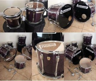 Ludwig 1980s 6 Piece Maple Custom Drum Set With SKB Cases