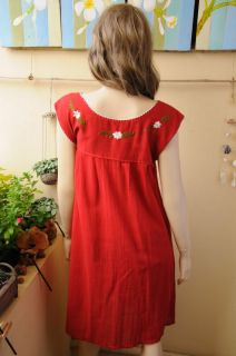 Vtg Style Mexican Embroidered Dress Tunic Top Red SLS