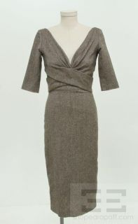 Alexander McQueen Brown & Black Tweed V Neck 3/4 Sleeve Sheath Dress