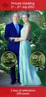 2011 Monaco Token Wedding Prince Albert II Charlene