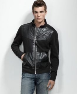 New Albert Black Pleather Accents Funnel Neck Full Zip Jacket Shirt M