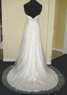 Sz 12 Alfred Angelo White Point D Esprit Lace Bead Wedding Dress NWT