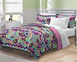 New Albuquerque Zigzag Purple Teen Girls Bedding Comforter Sheet Set