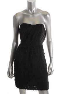 Ali Ro Black Silk Strapless Lined Shift Cocktail Dress 6 BHFO