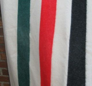Wool & Acrylic Striped Blanket King Queen Double Red Black Green Lodge