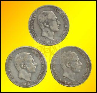 50 Centimos de Peso 1881 1983 Alfonso XII Silver Coin Set 3pcs