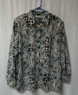 Shirt Womens Alfred Dunner Long Sleeve Button Down Size Plus 18W