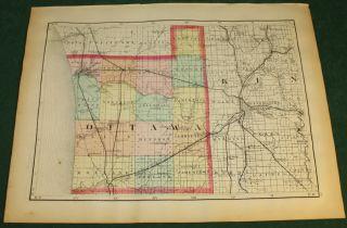 Antique Allegan Ottawa County Michigan Map 1873 Color
