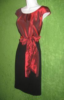 Alex Marie Red Wine Black Satin Cap Sleeve Belt Cocktail Evening Dress