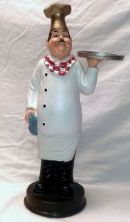 FAT CHEF BAKER FRENCH ITALIAN BISTRO STATUE LARGE FIGURINE KITCHEN