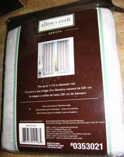 Allen Roth Barista Grommet Panel Drape Curtain White Sheer w Blue Trim